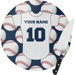 Baseball Jersey Round Glass Cutting Board (Personalized)