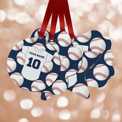 Baseball Jersey Metal Ornaments - Double Sided w/ Name and Number