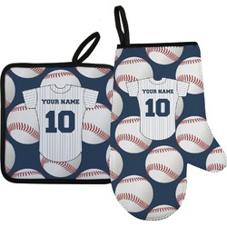 Baseball Jersey Oven Mitt & Pot Holder Set w/ Name and Number