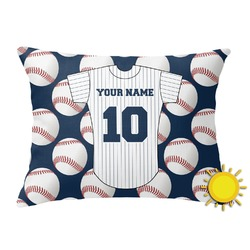 Baseball Jersey Outdoor Throw Pillow (Rectangular) (Personalized)