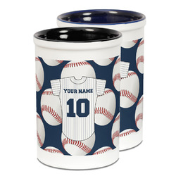 Baseball Jersey Ceramic Pencil Holder - Large