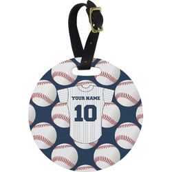 Baseball Jersey Plastic Luggage Tag - Round (Personalized)