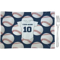 Baseball Jersey Glass Rectangular Appetizer / Dessert Plate - Single or Set (Personalized)