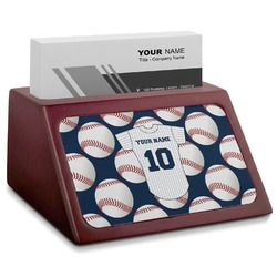 Baseball Jersey Red Mahogany Business Card Holder (Personalized)