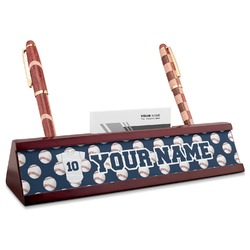 Baseball Jersey Red Mahogany Nameplate with Business Card Holder (Personalized)