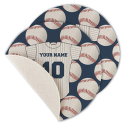 Baseball Jersey Round Linen Placemat (Personalized)