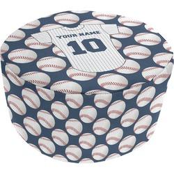 Baseball Jersey Round Pouf Ottoman (Personalized)