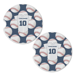 Baseball Jersey Sandstone Car Coasters - Set of 2 (Personalized)