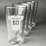 Baseball Jersey Beer Glasses (Set of 4) (Personalized)