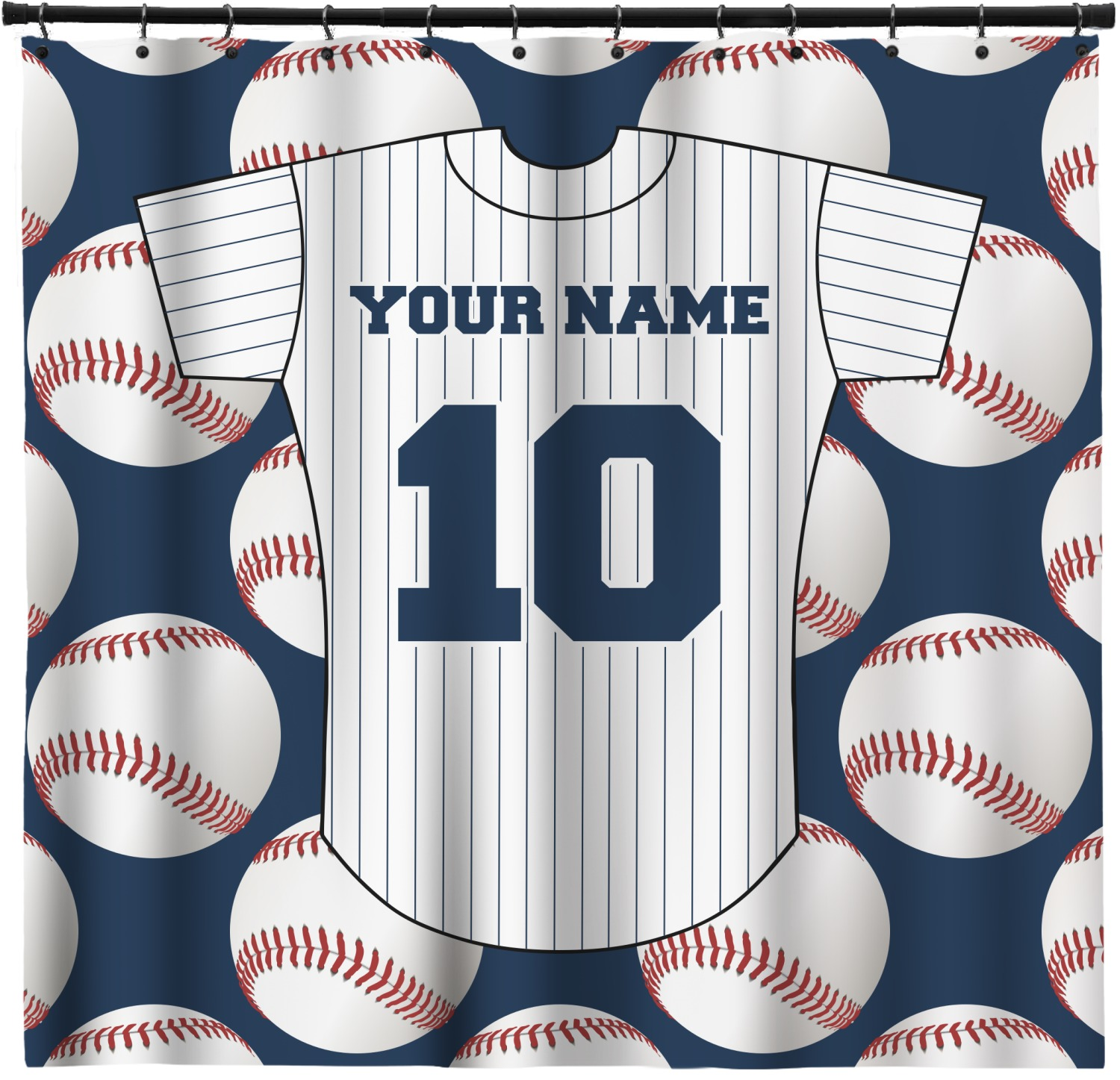 Baseball Jersey Shower Curtain Personalized