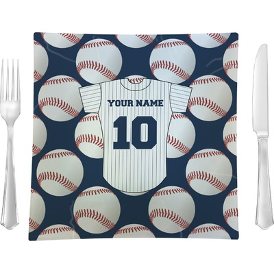 "Baseball Jersey 9.5"" Glass Square Lunch / Dinner Plate- Single or Set of 4 (Personalized)"