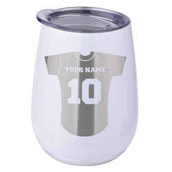 Baseball Jersey Stemless Wine Tumbler - 5 Color Choices - Stainless Steel  (Personalized)