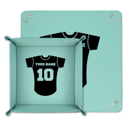 Baseball Jersey Teal Faux Leather Valet Tray (Personalized)