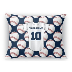 "Baseball Jersey Rectangular Throw Pillow Case - 12""x18"" (Personalized)"