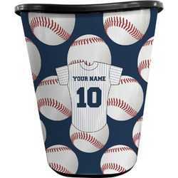 Baseball Jersey Waste Basket - Double Sided (Black) (Personalized)