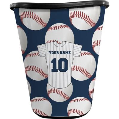 Baseball Jersey Waste Basket - Single Sided (Black) (Personalized)
