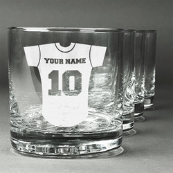 Baseball Jersey Whiskey Glasses (Set of 4) (Personalized)
