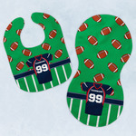 Football Jersey Baby Bib & Burp Set w/ Name and Number