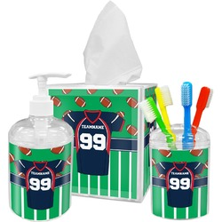 Football Jersey Acrylic Bathroom Accessories Set w/ Name and Number