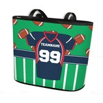 Football Jersey Bucket Tote w/ Genuine Leather Trim (Personalized)