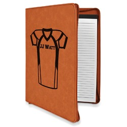 Football Jersey Leatherette Zipper Portfolio with Notepad (Personalized)
