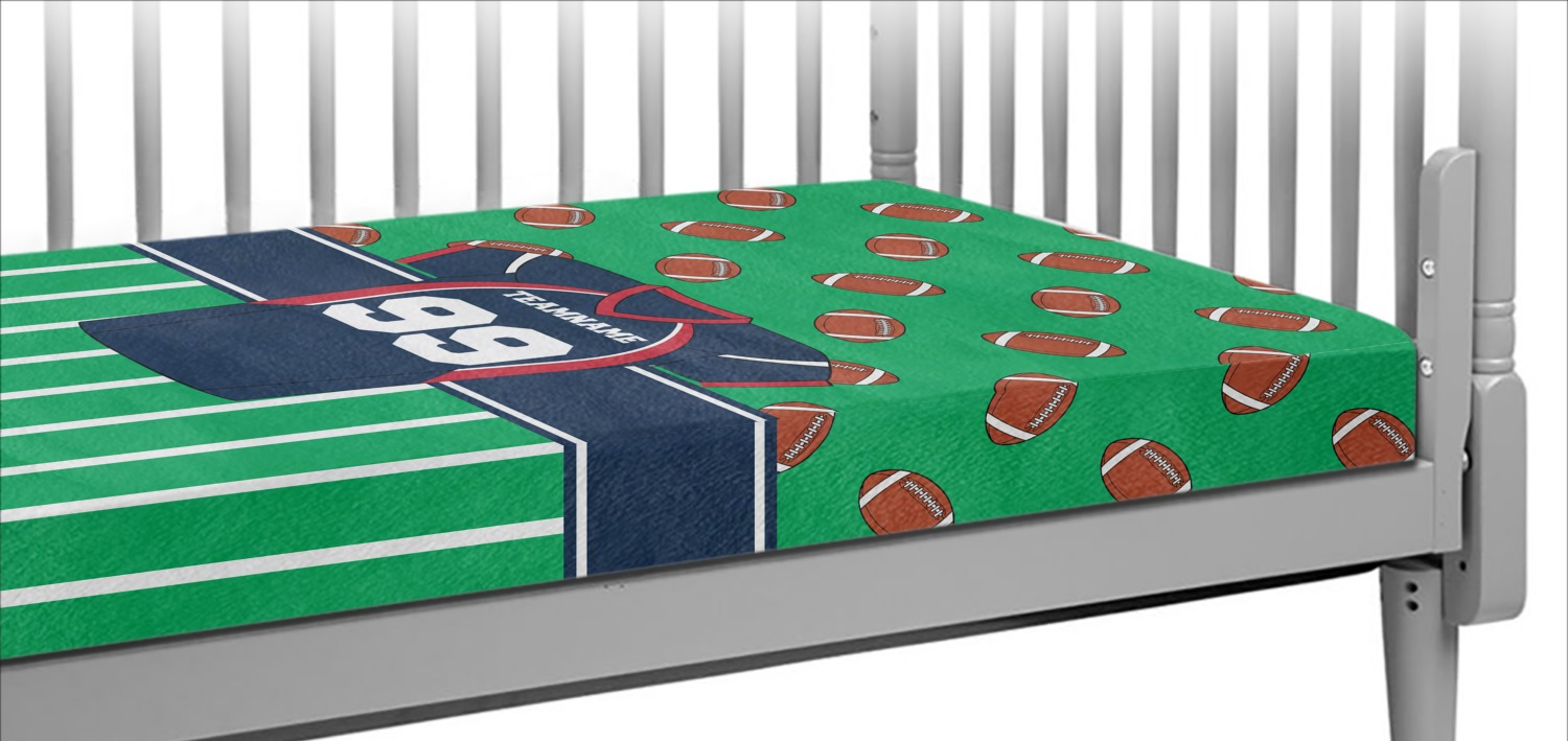 Football Crib Sheet : Football jersey crib fitted sheet personalized