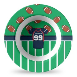 Football Jersey Plastic Bowl - Microwave Safe - Composite Polymer (Personalized)
