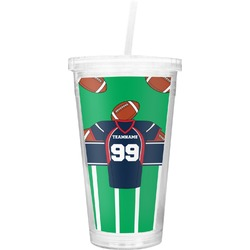 Football Jersey Double Wall Tumbler with Straw (Personalized)