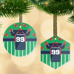 Football Jersey Flat Glass Ornament w/ Name and Number
