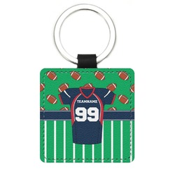 Football Jersey Genuine Leather Rectangular Keychain (Personalized)