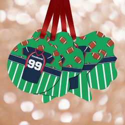 Football Jersey Metal Ornaments - Double Sided w/ Name and Number