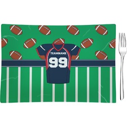 Football Jersey Rectangular Glass Appetizer / Dessert Plate - Single or Set (Personalized)