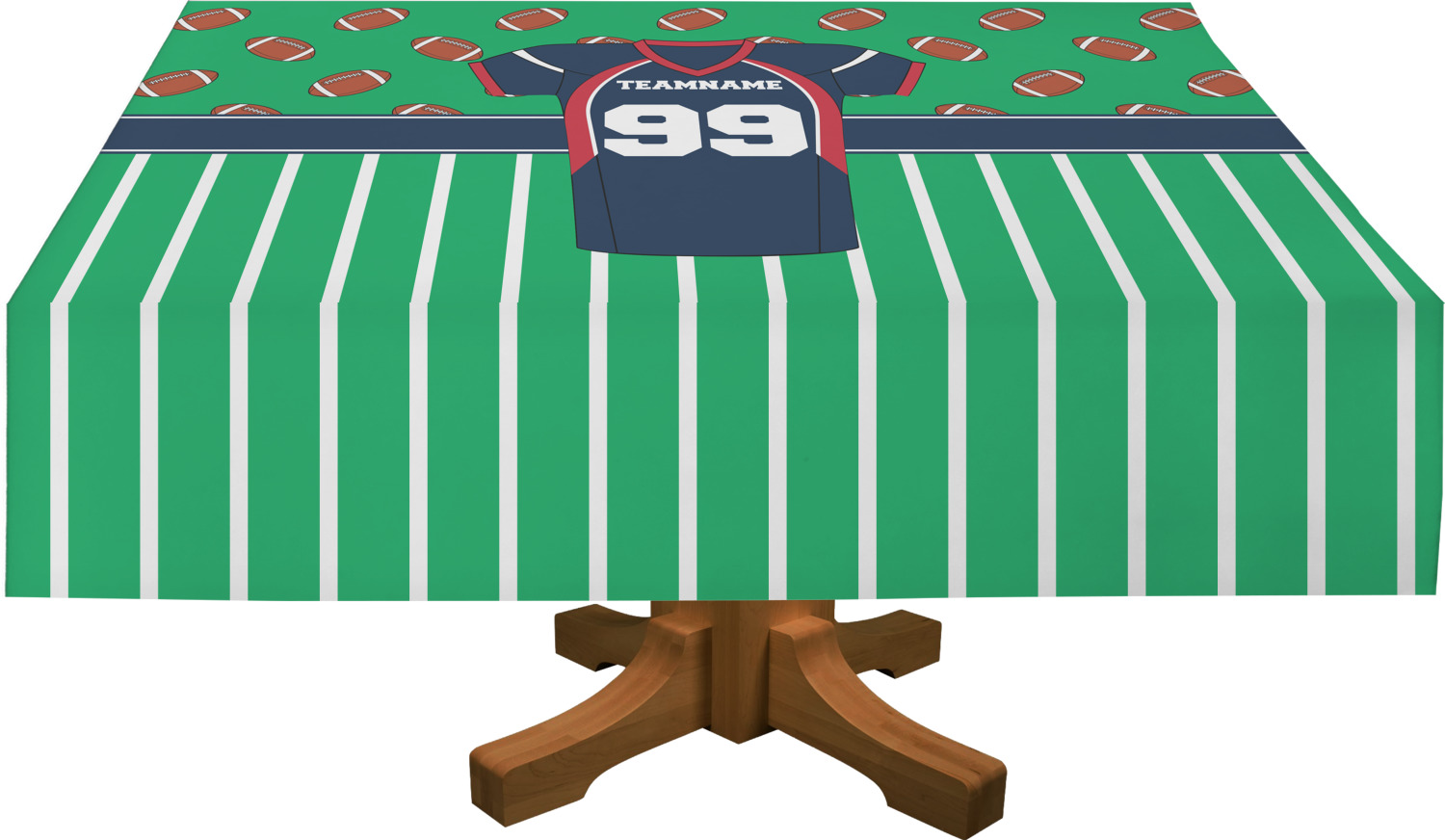 Football jersey rectangle tablecloth personalized for Garden rooms jersey