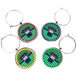 Football Jersey Wine Charms (Set of 4) (Personalized)