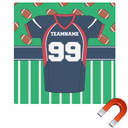"""Football Jersey Square Car Magnet - 6"""" (Personalized)"""