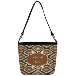 Front Personalized Princess Bucket Bags w//Genuine Leather Trim Large