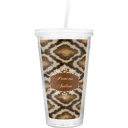 Snake Skin Double Wall Tumbler with Straw (Personalized)
