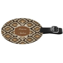 Snake Skin Genuine Leather Oval Luggage Tag (Personalized)