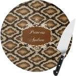 Snake Skin Round Glass Cutting Board (Personalized)