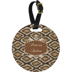 Snake Skin Round Luggage Tag (Personalized)