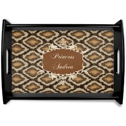 Snake Skin Black Wooden Tray (Personalized)
