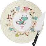 Chinese Zodiac Round Glass Cutting Board (Personalized)