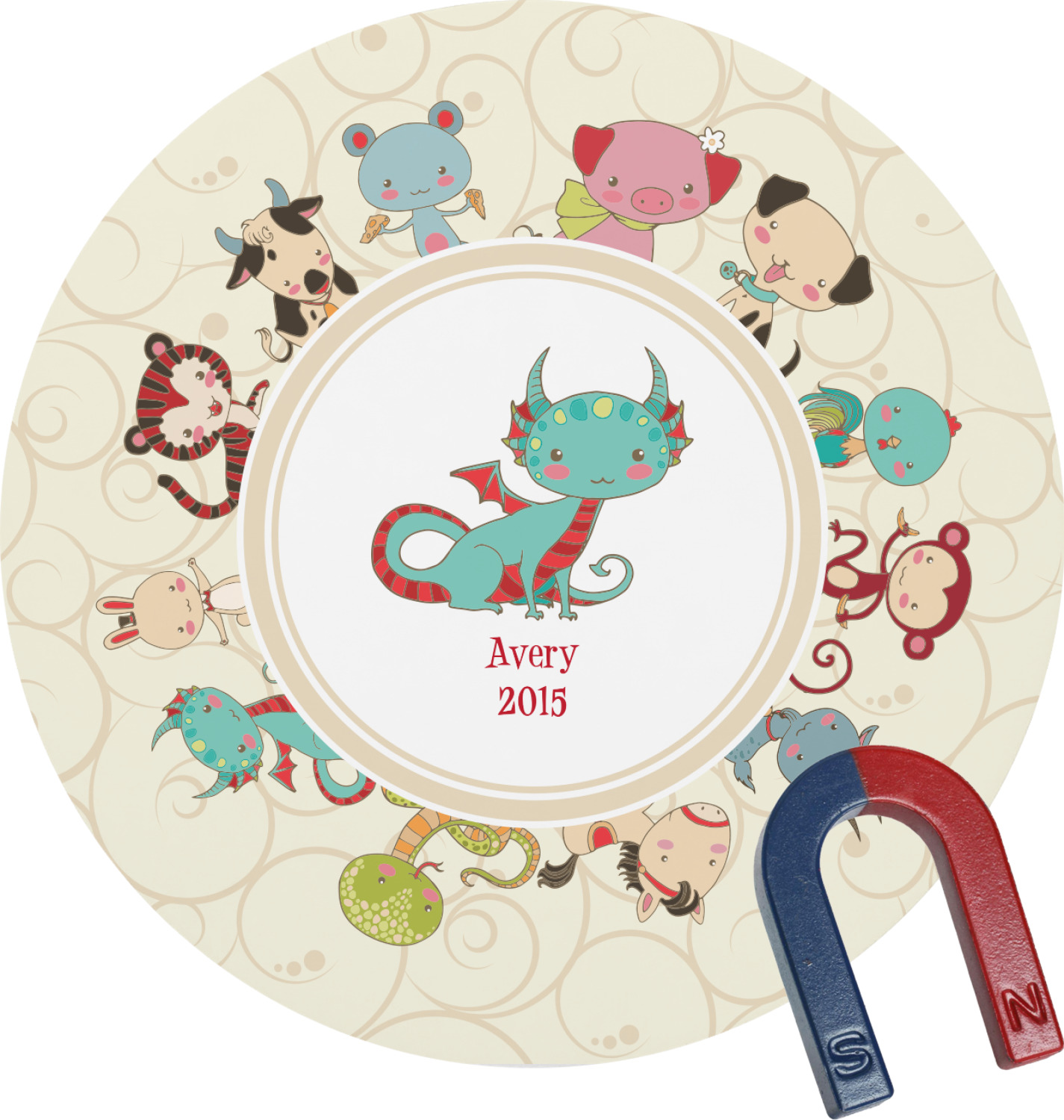 3ee1ab95e Chinese Zodiac Round Magnet (Personalized) - YouCustomizeIt