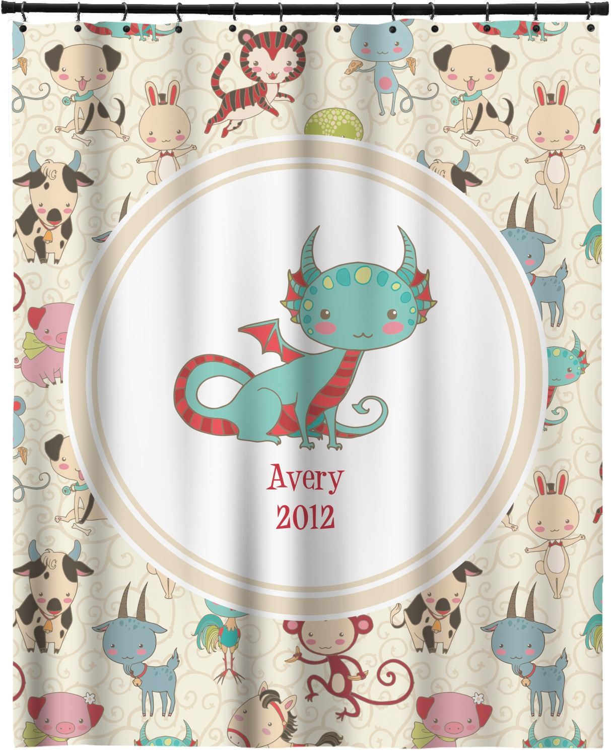 Chinese zodiac extra long shower curtain 70 x90 for Zodiac bathroom accessories