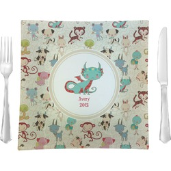 "Chinese Zodiac Glass Square Lunch / Dinner Plate 9.5"" - Single or Set of 4 (Personalized)"