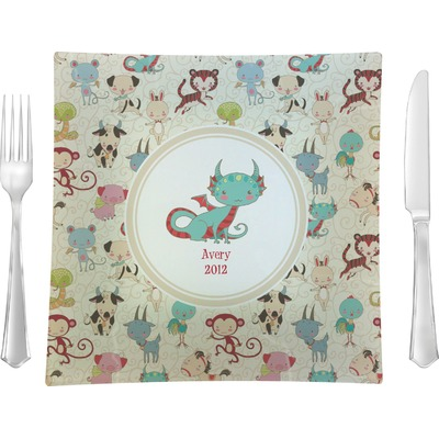 "Chinese Zodiac Glass Square Lunch / Dinner Plate 9.5"" (Personalized)"