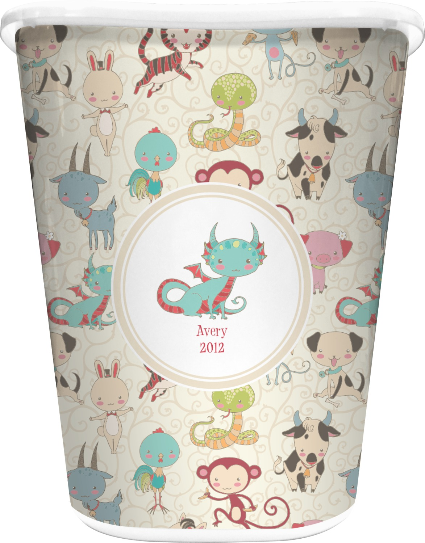Chinese zodiac waste basket white personalized for Zodiac bathroom accessories