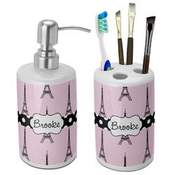 Eiffel Tower Ceramic Bathroom Accessories Set (Personalized)