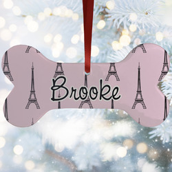 Eiffel Tower Ceramic Dog Ornaments w/ Name or Text