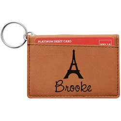 Eiffel Tower Leatherette Keychain ID Holder (Personalized)